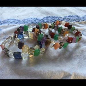 Set of 4 multiple gemstone bracelets